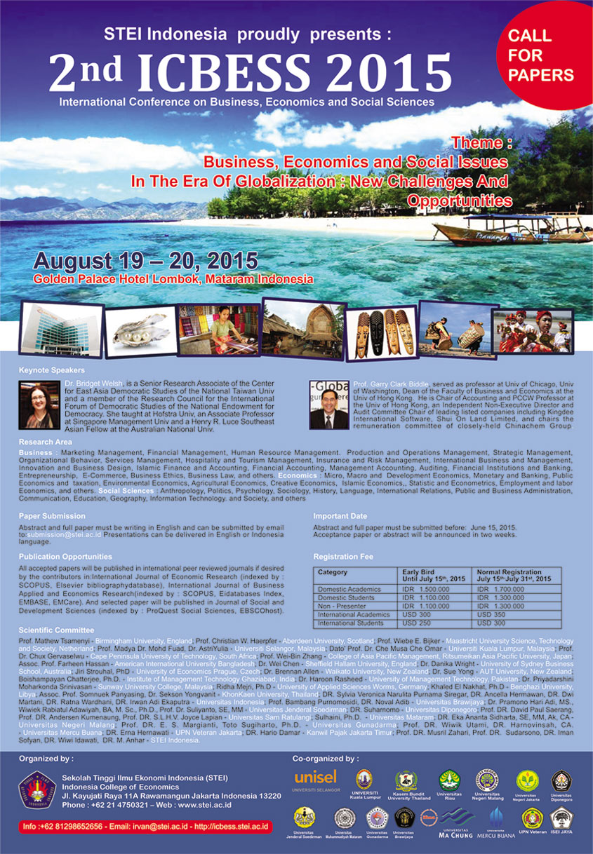 4.14.2015 - ICBESS 2015 Business Economics and Social Issues In The Era Of Globalization New Challenges and Opportunities