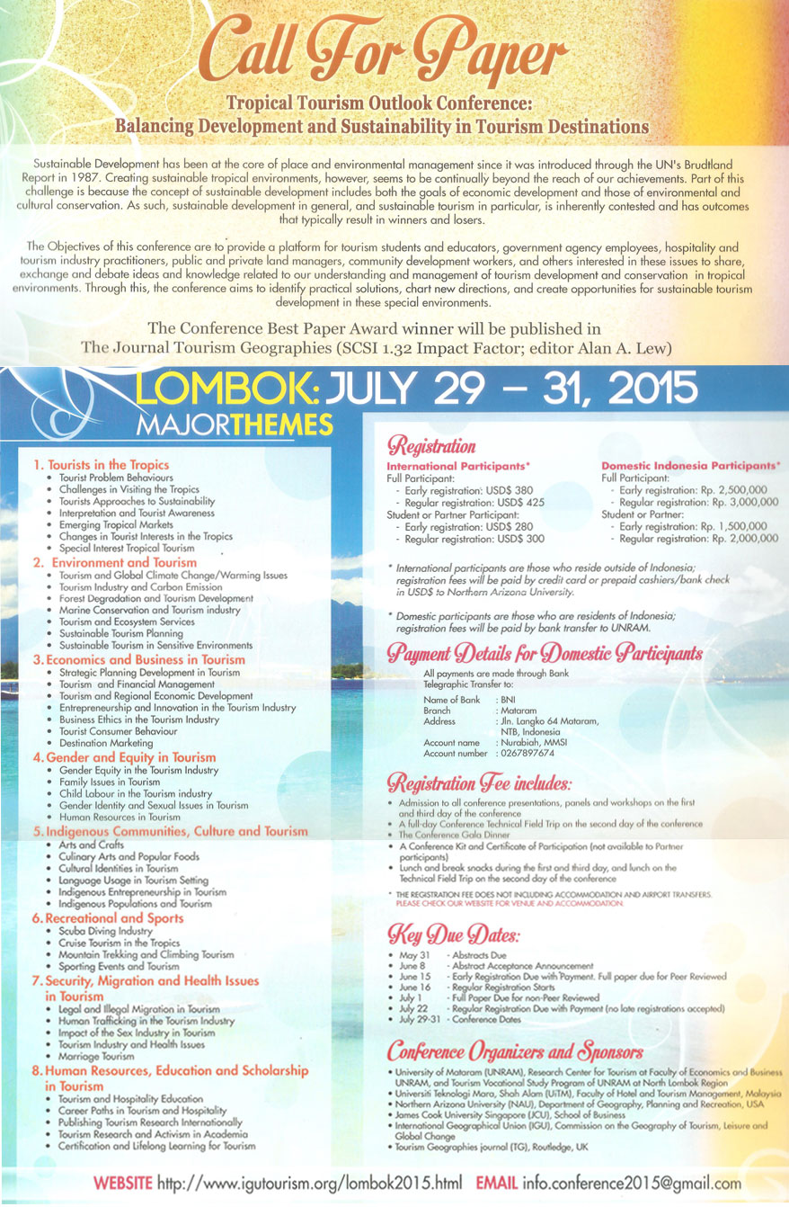 4.14.2015 - International Conference on Tropical Tourism Outlook Balancing Development and Sustainability in Tourism Destinations di Mataram Lombok