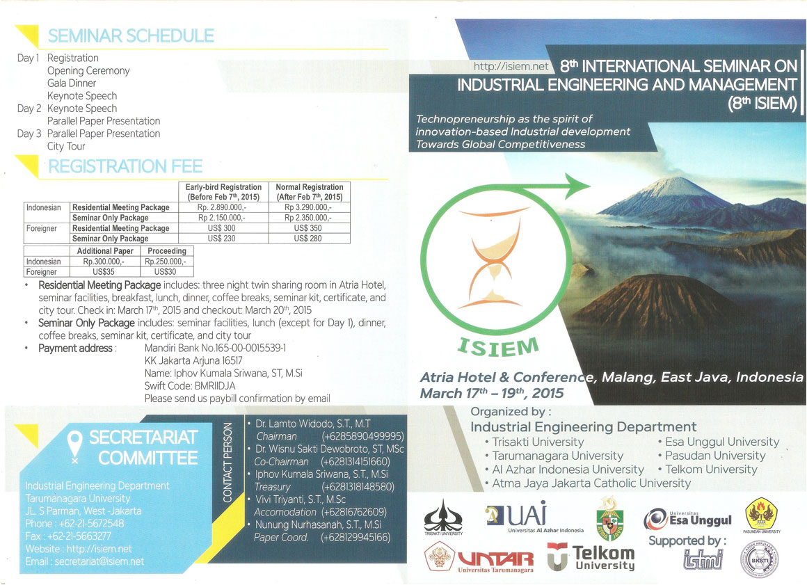 4.14.2015 - International Seminar On Industrial Engineering And Management - 01